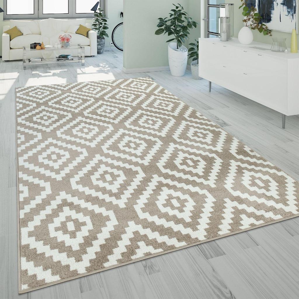 Paco Home Teppich »Stella 400«, rechteckig, 17 mm Höhe, Kurzflor, Rauten Design, Wohnzimmer