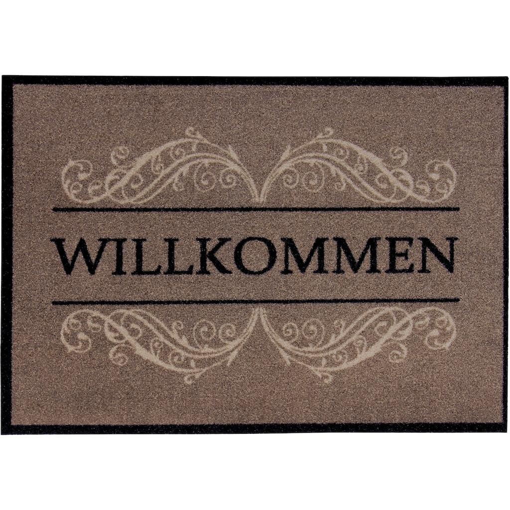 Andiamo Fußmatte »Carmen«, rechteckig, 4 mm Höhe, Schmutzfangmatte, mit Spruch, In- und Outdoor geeignet, waschbar