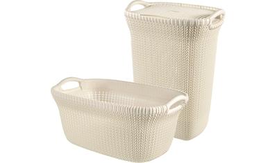 Curver Wäschekorb »Knit«, (Set, 2 St.), und Wäschesammler creme kaufen