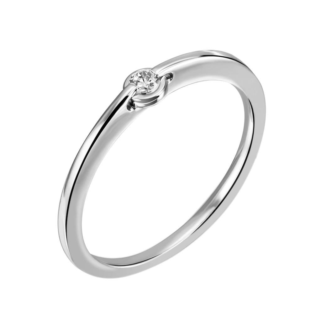 Firetti Diamantring »Solitär, Zargenfassung, Glanzoptik, massiv«, mit Brillant