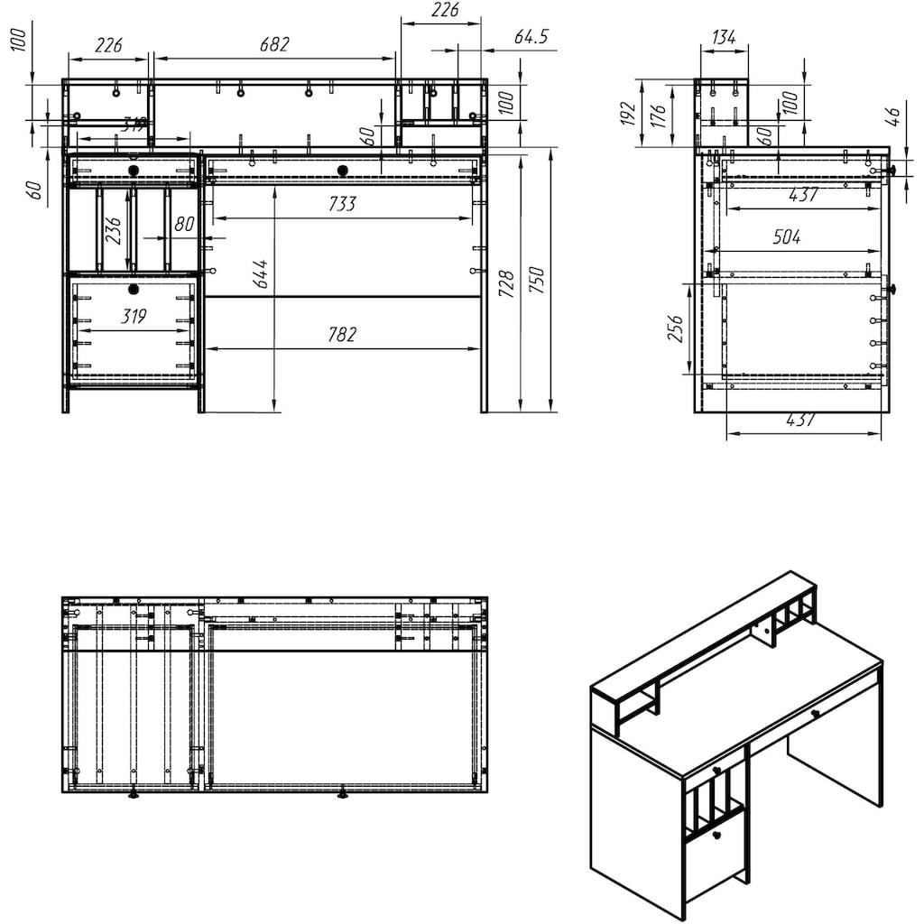 Places of Style Schreibtisch »Licia«, Breite 120cm
