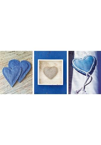 Home affaire Kunstdruck »Blue Hearts I - III« kaufen