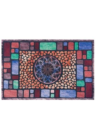 Home affaire Fußmatte »Mandala eckig«, rechteckig, 6 mm Höhe, Schmutzmatte, In- und... kaufen