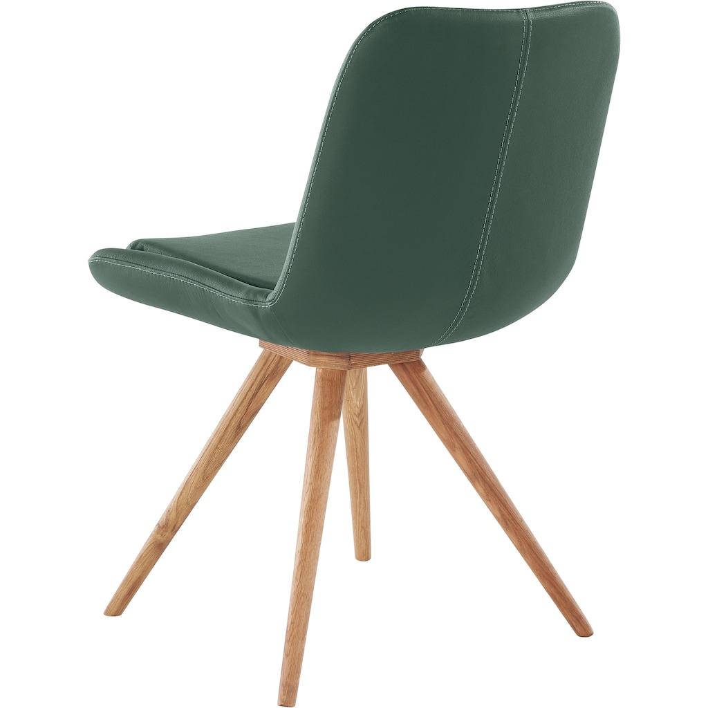INOSIGN Schalenstuhl »Malmö«, Bezug in Strukturstoff oder Leder und das Gestell in Eiche Massivholz geölt