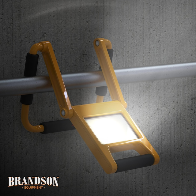Brandson LED Baustrahler mit Akku, 2 Dimmstufen & 600 Lumen »einklappbare IP44 Arbeitsleuchte«