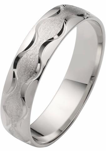 Firetti Trauring mit Gravur »5,0 mm, glanz, eismatt, diamantschnitt in Wellenform, Weißgold« kaufen