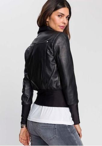 DSCVR Lederjacke »Gini«, Blouson-Form mit figurbetontem Jersey-Einsatz am Saum kaufen