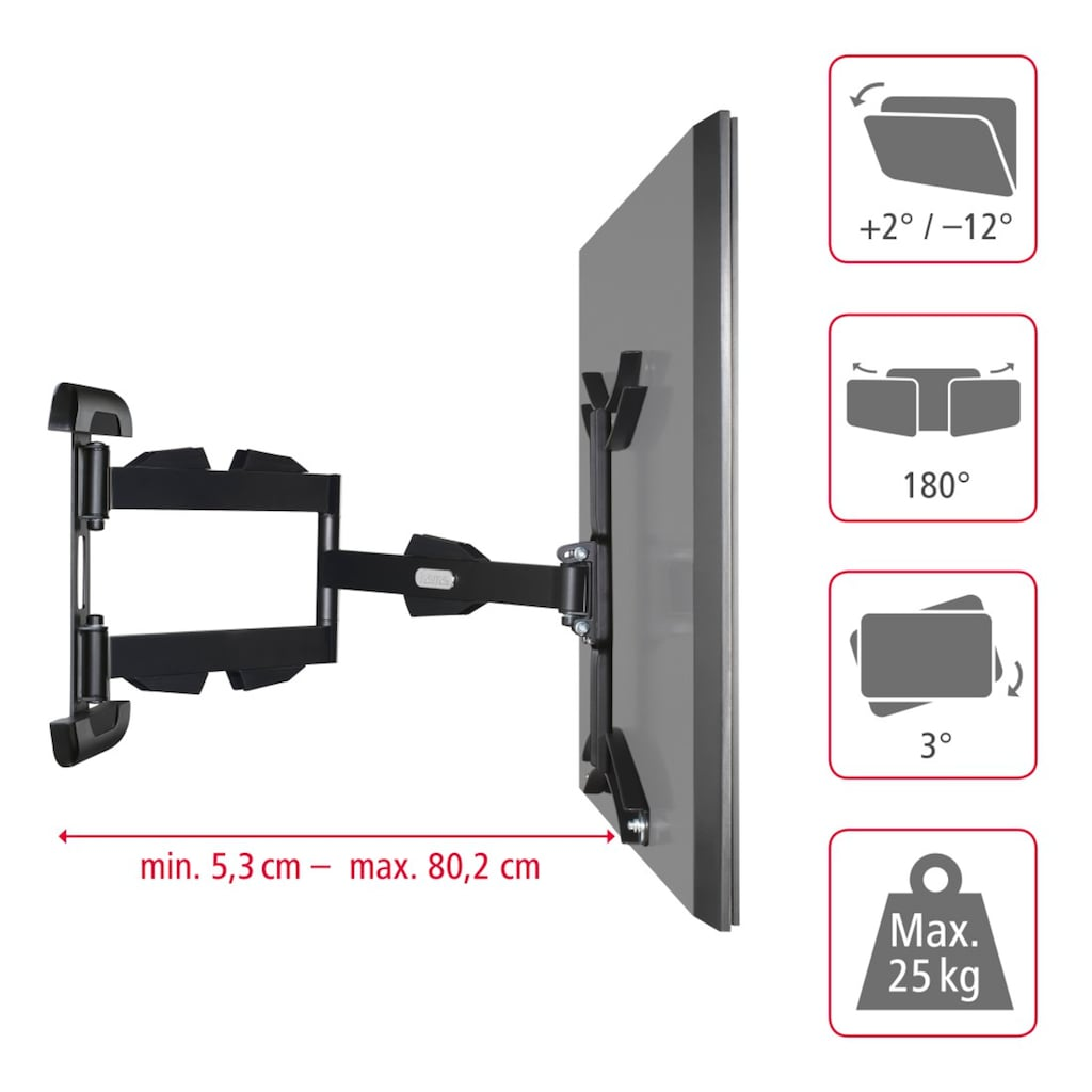 "Hama TV-Wandhalterung FULLMOTION, 3 Sterne, 81-165 cm (32-65"")"