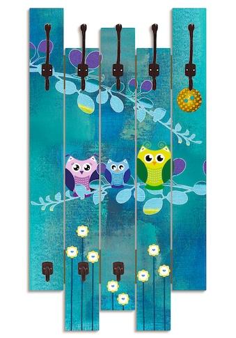 Artland Garderobenpaneel »Nachteule im Mondschein«, platzsparende Wandgarderobe aus... kaufen