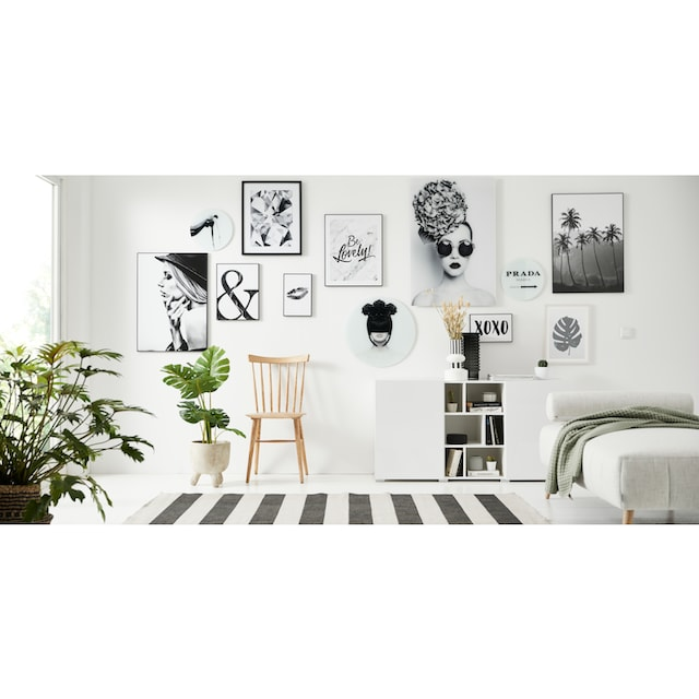 Glasbild »Black and Beauty - rund« (Set)