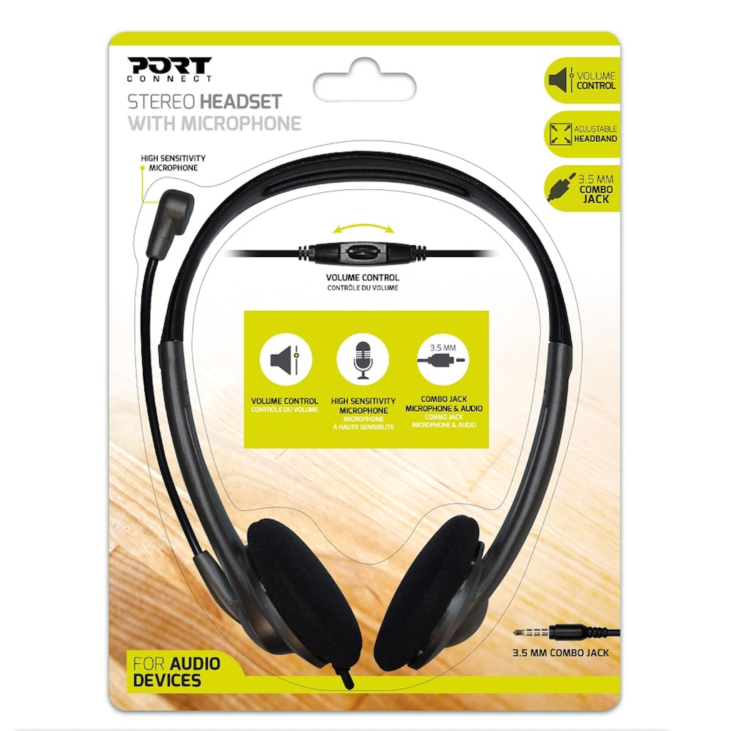 Port Designs Headset »Stereo Headset mit Mikrophon, 1,2 m Kabel«, Kopfhörer mit Kabel
