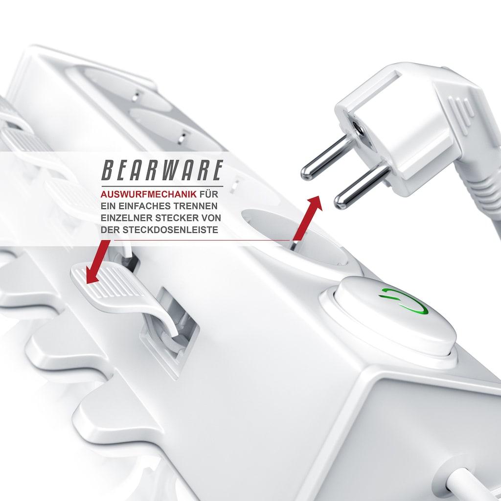 BEARWARE 4-fach Steckdosenleiste mit Auswurfautomatik