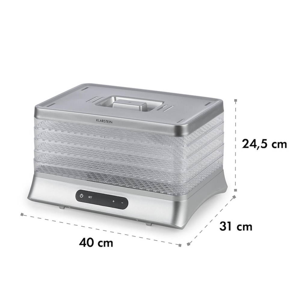 Klarstein Dörrautomat 500W LED-Display BPA-frei 35-70 °C »Silver«