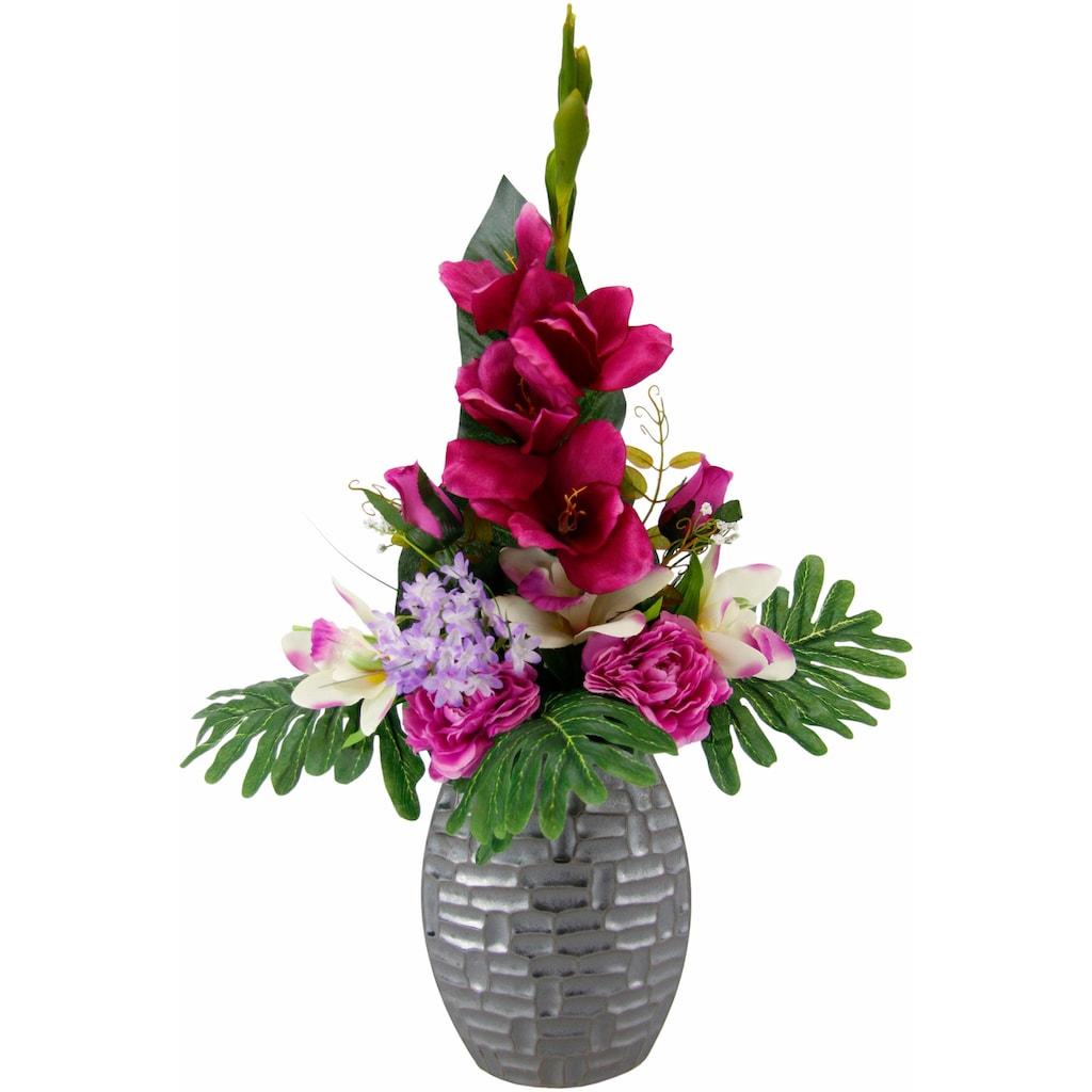 I.GE.A. Kunstpflanze »Arrangement Gladiole / Rosen in Vase«
