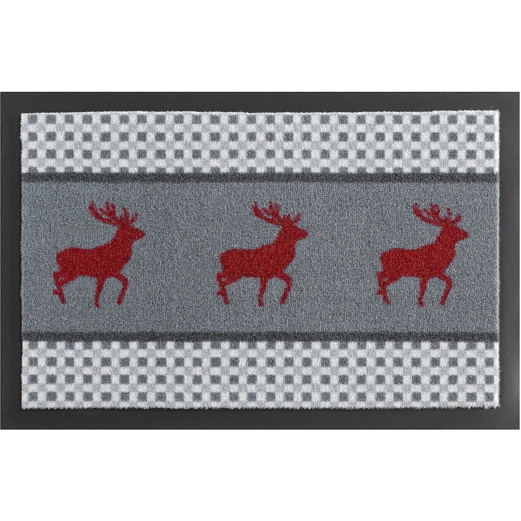 HANSE Home Fußmatte »Hirsch Deer«, rechteckig, 7 mm Höhe, Schmutzfangmatte, rutschhemmend beschichtet