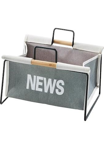 Home affaire Zeitungsständer »Zeitungsständer aus Metall, schwarz und Canvas grau« kaufen