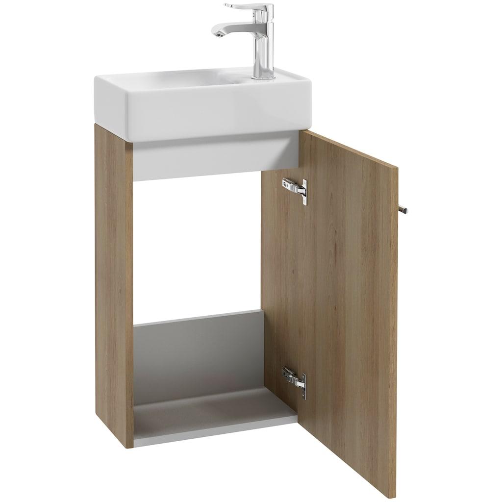 Badmöbel-Set »BARD«, (3 St.), Gästebad, inklusive Spiegel, LED-Beleuchtung, Waschtisch und Waschbecken