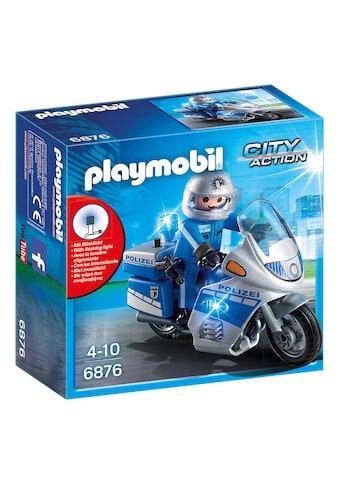 Playmobil® Konstruktions-Spielset »Motorradstreife mit LED-Blinklicht (6876), City Action«, Made in Germany kaufen