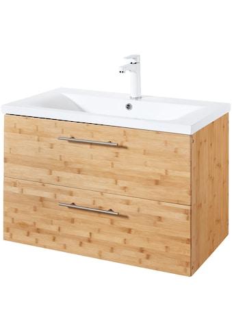 WELLTIME Waschtisch »Bambus New«, Waschplatz, 80 cm breit, Bad - Set, 2 - tlg. kaufen