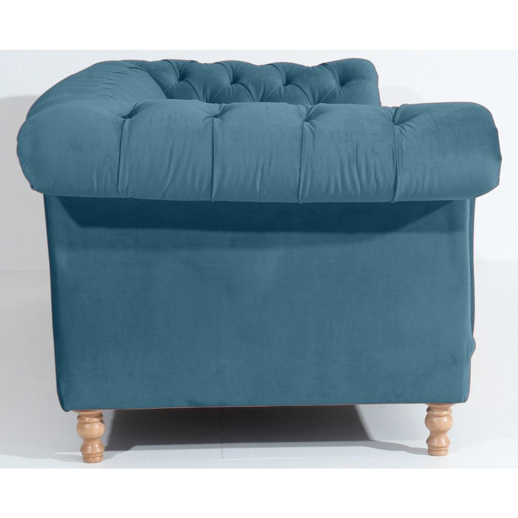 Max Winzer® Sitzgruppe »Isabelle«, (3 tlg.), mit edler Knopfheftung & gedrechselten Füßen in Buche natur, Polstergarnitur 3-tlg.
