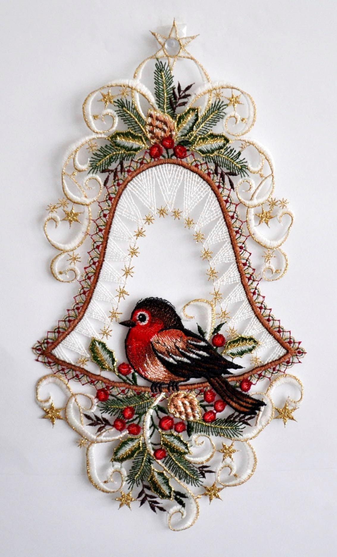 Stickereien Plauen Fensterbild »Vogel in Glocke« (1 Stück)