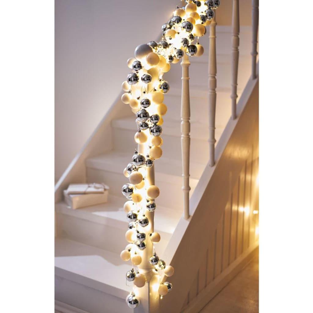LED-Girlande, mit Kunststoffkugeln, 190 cm lang