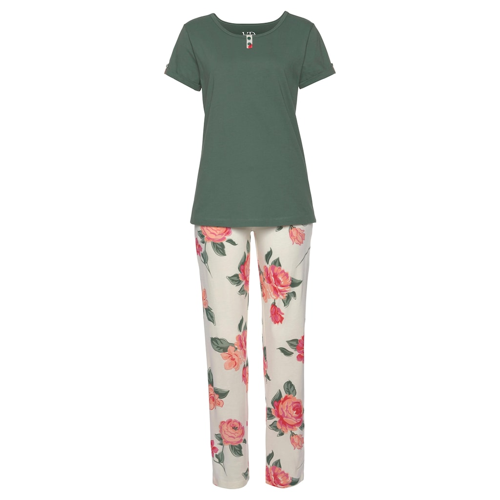 Vivance Dreams Pyjama, mit geblümter Schlafhose