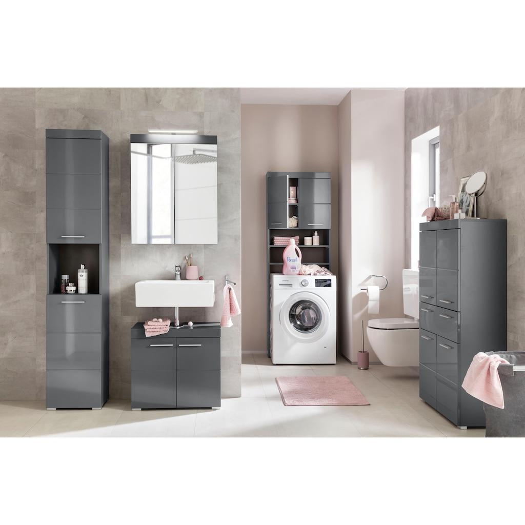 trendteam Waschbeckenunterschrank »Amanda«, Höhe 56 cm, Badezimmerschrank mit 2 Türen und Aussparung für Wasserleitung, MDF-Fronten in Hochglanz- oder Holzoptik