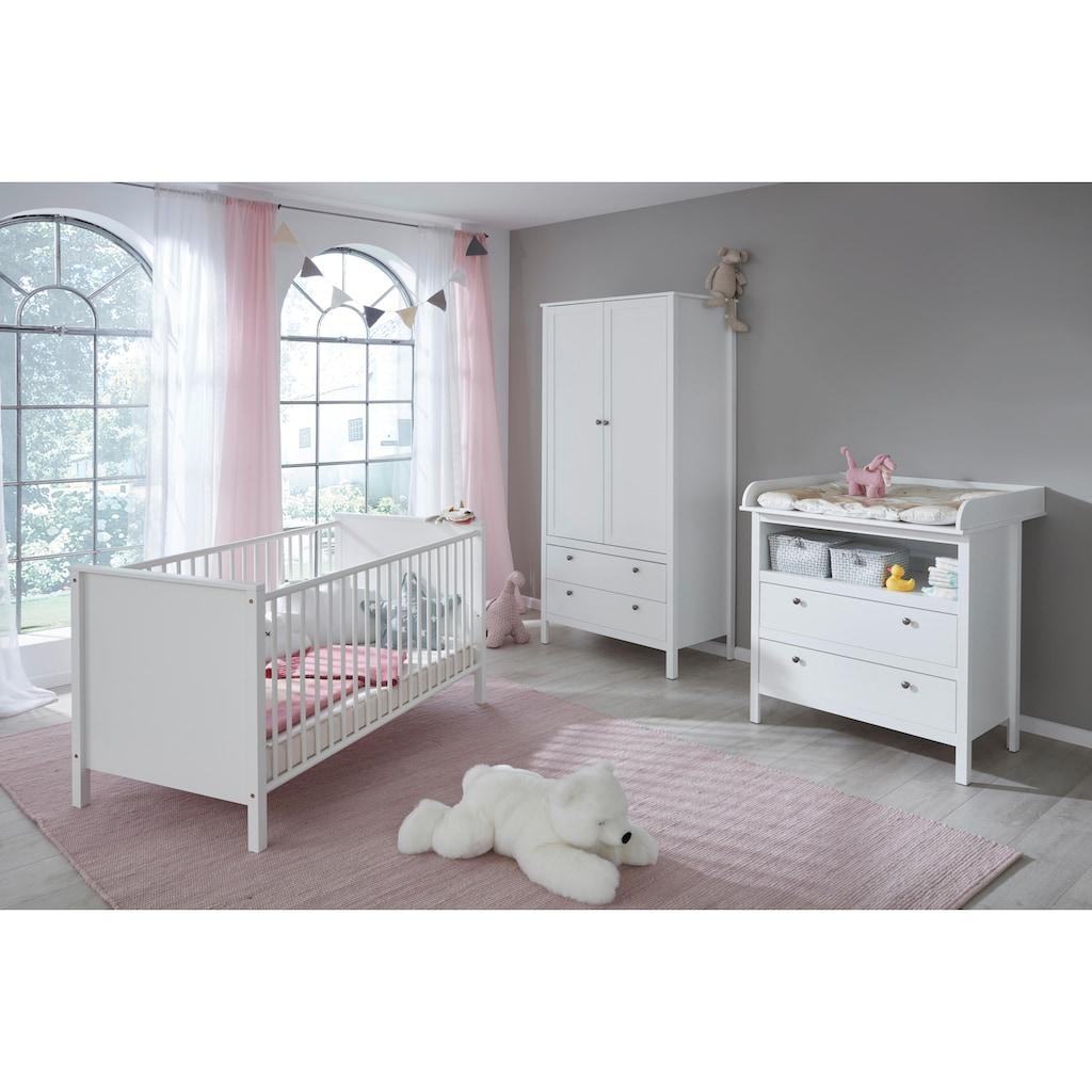 Babyzimmer-Komplettset »Westerland«, (Set, 3 tlg.), Bett + Wickelkommode + 2 trg. Schrank