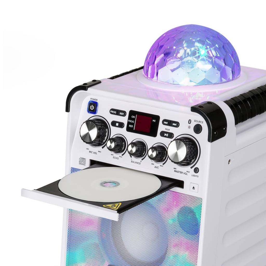 Auna LED Karaokeanlage CD-Player Bluetooth AUX 2 x 6,3mm