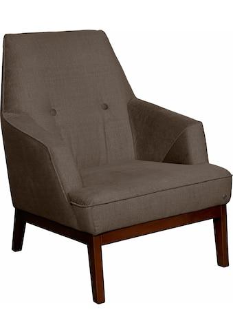 TOM TAILOR Sessel »COZY«, im Retrolook, mit Kedernaht und Knöpfung, Füße nussbaumfarben kaufen