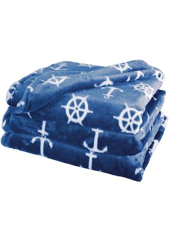Delindo Lifestyle Wohndecke »Nautic«, kuschelig weiche Coral Fleece Decke im maritimen Look kaufen