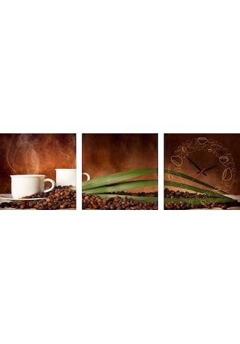 Conni Oberkircher´s Bild »Coffe Time«, Kaffee, (Set), mit dekorativer Uhr kaufen