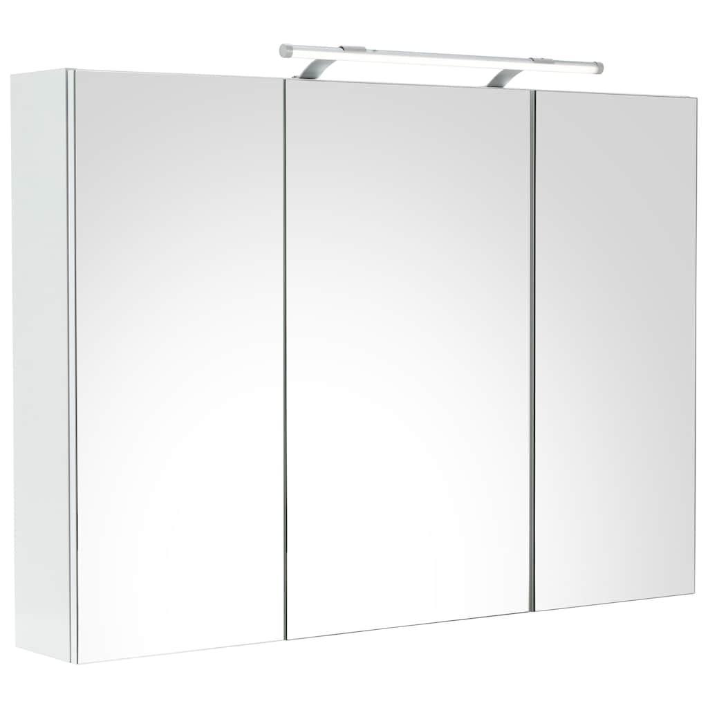 Schildmeyer Spiegelschrank »Dorina«, Breite 100 cm, 3-türig, LED-Beleuchtung, Schalter-/Steckdosenbox, Glaseinlegeböden, Made in Germany