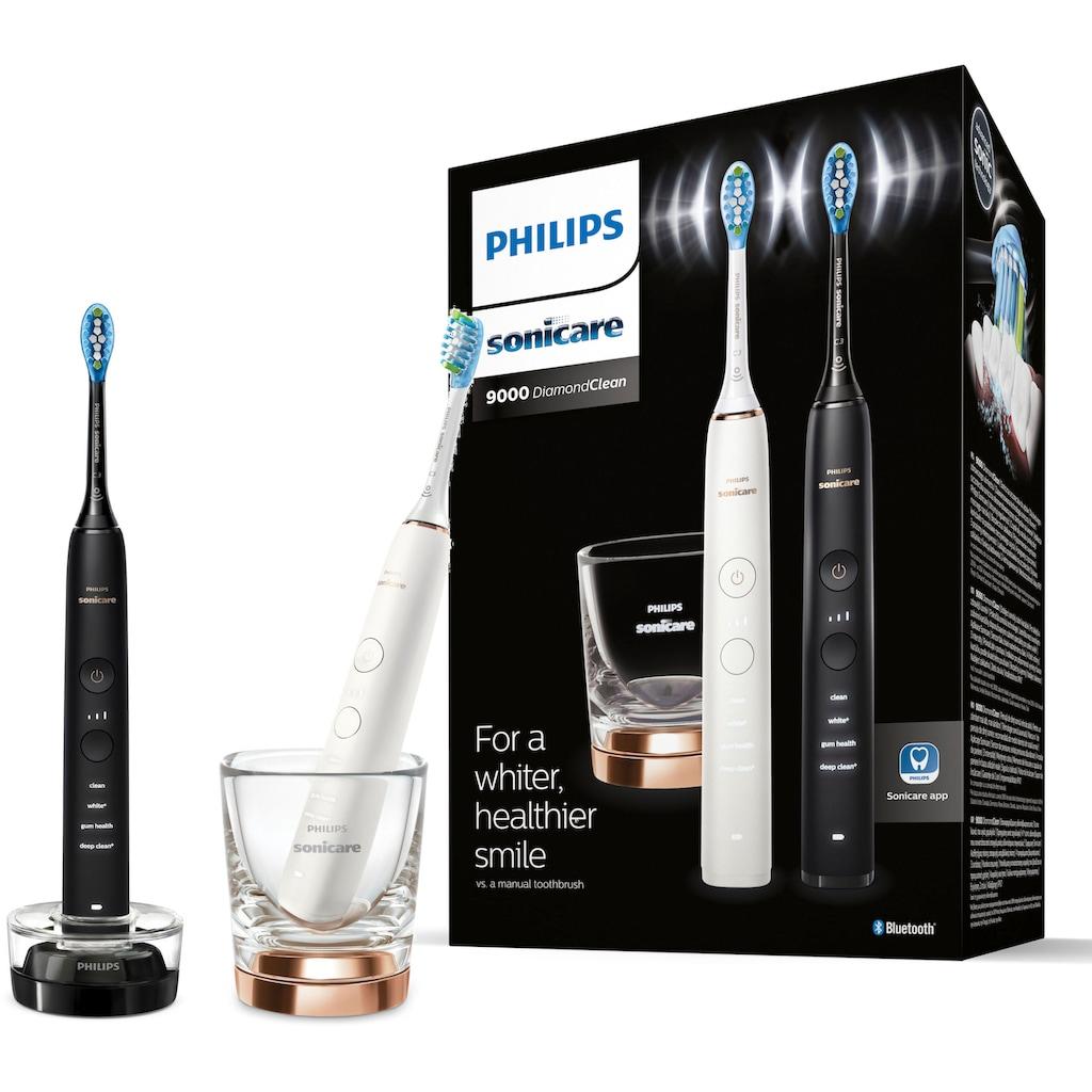 Philips Sonicare Elektrische Zahnbürste »DiamondClean 9000 HX9914/57«, 2 St. Aufsteckbürsten, mit Schalltechnologie, 2er Set, Ladeglas