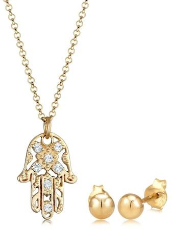 Elli Schmuckset »Hand der Fatima, 0908811219, 0908621219, 0908291219«, mit Kristall kaufen