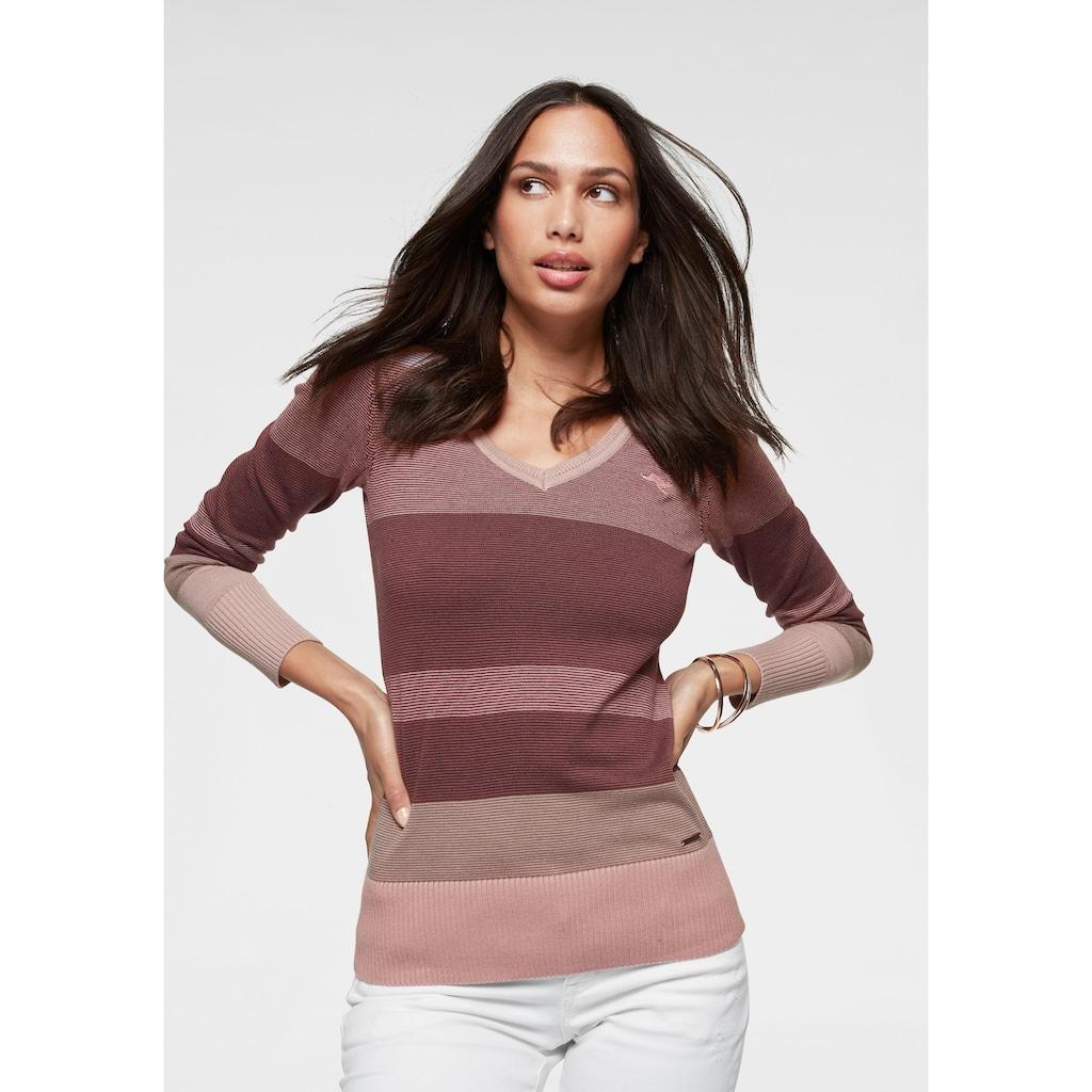 KangaROOS V-Ausschnitt-Pullover, im Multicolor-Streifenmuster