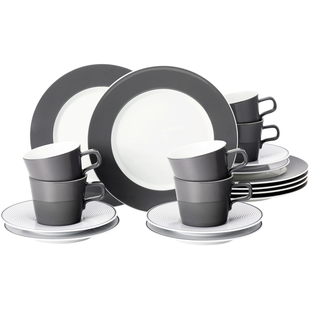 Seltmann Weiden Kaffeeservice »No Limits Moments«, (Set, 18 tlg., 6 Kaffeetassen 0,22 l 6 Kombi-Untertassen 17,5 cm 6 Frühstückteller 24 cm), mit harmonischem Linien