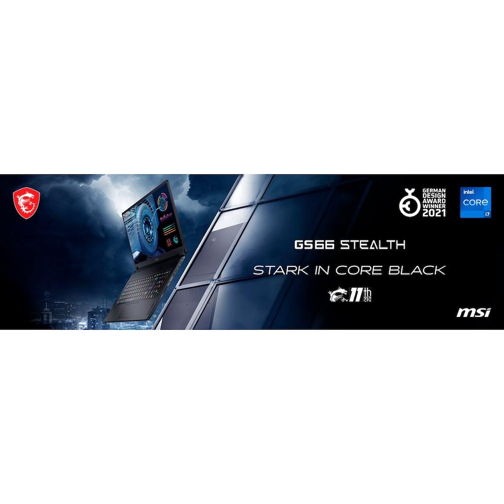 "MSI Gaming-Notebook »GS66 Stealth 11UH-045«, (39,6 cm/15,6 "" Intel Core i9 GeForce RTX™ 3080\r\n 2000 GB SSD), Kostenloses Upgrade auf Windows 11, sobald verfügbar"