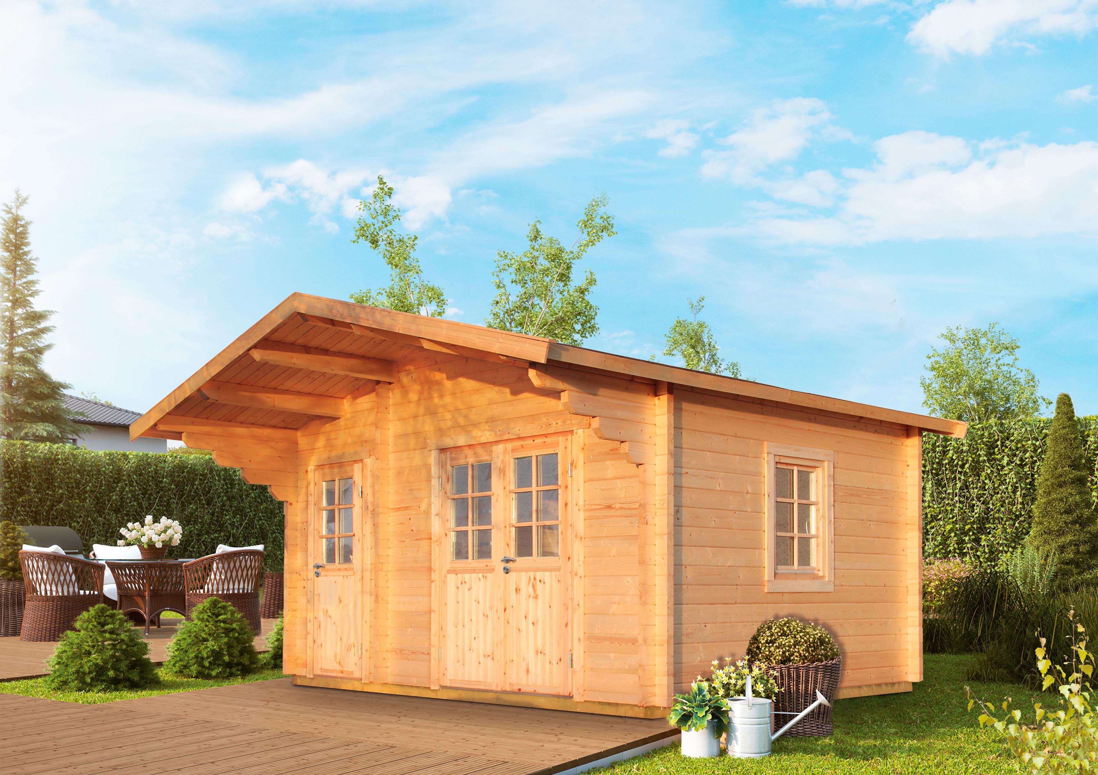 WOLFF FINNHAUS Gartenhaus »Caro 58-B Klassik«, BxT: 510x360 cm, inkl. Fußboden, mit 2 Räumen | Garten > Bodenbeläge-Garten | Natur | Fichte - Hölzer | WOLFF FINNHAUS