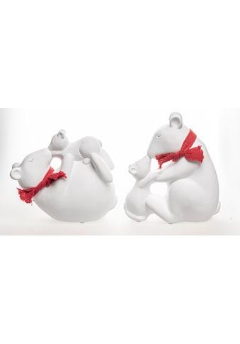 VALENTINO Wohnideen Tierfigur »Eisbär mit Kind und Schal« (Set, 2 Stück, 1x liegend, 1x sitzend) kaufen