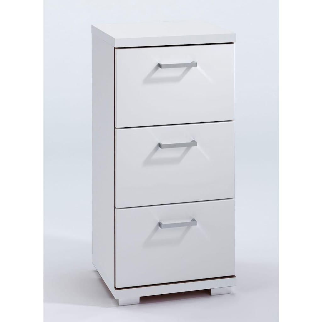 Homexperts Unterschrank »Nusa«, Breite 35 cm, Badezimmerschrank mit Metallgriffen, 3 praktische Schubladen, MDF-Fronten in Hochglanz-Optik