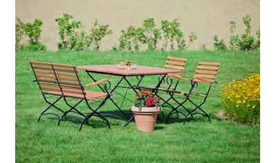 MERXX Gartenmöbelset »Schloßgarten«, 4tlg., 2 Sessel, Bank, Tisch, klappbar, ausziehbar kaufen