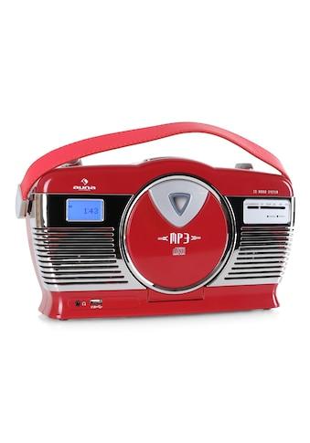 Auna Retro Kofferradio Vintage Look UKW USB MP3 Uhr CD Player tragbar kaufen
