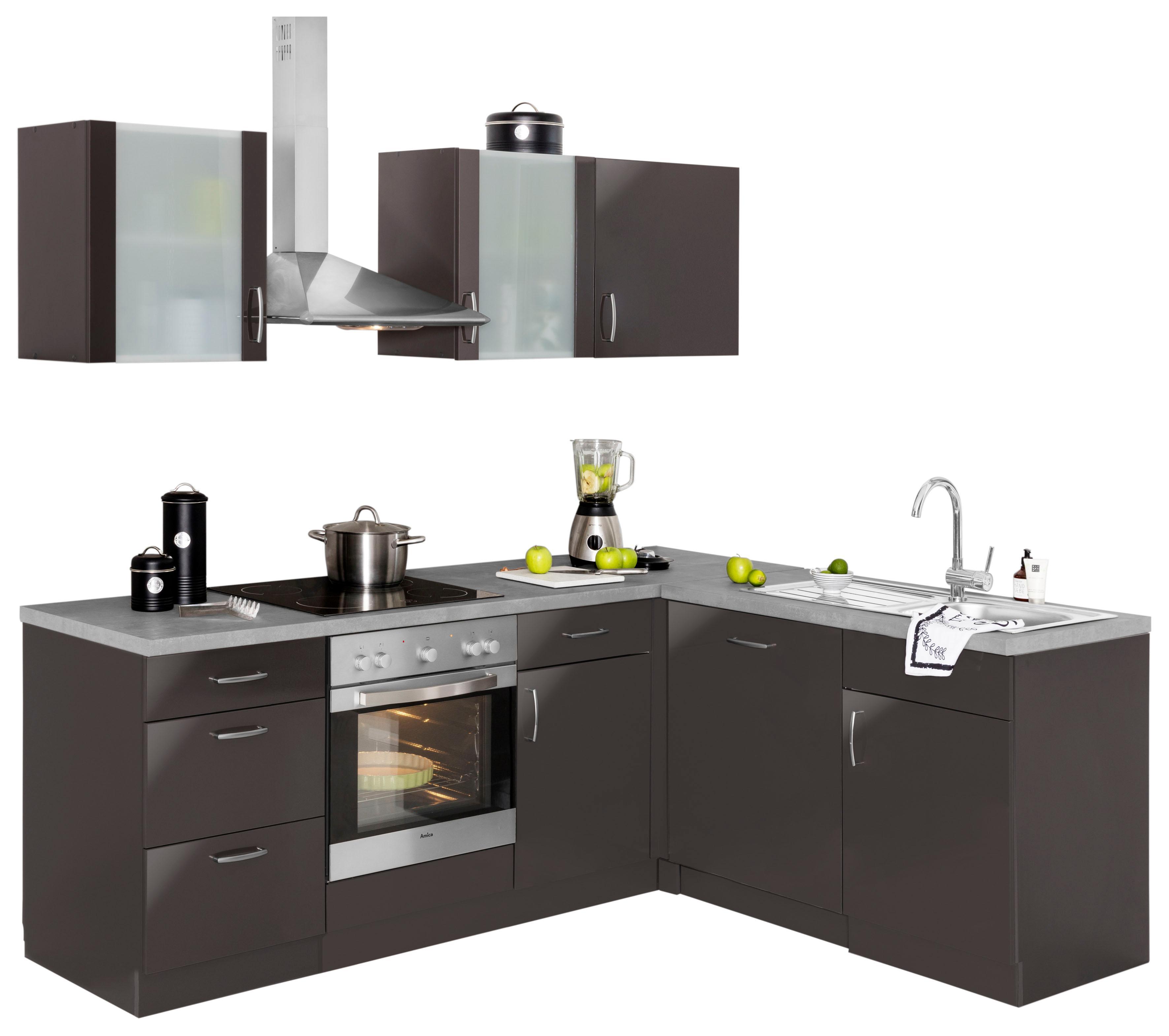 Winkelküche »Brüssel«, mit E-Geräten, Stellbreite 220 x 170 cm mit 38 mm starker Arbeitsplatte | Küche und Esszimmer > Küchen > Winkelküchen | Grau | QUELLE