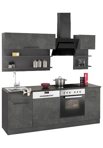 HELD MÖBEL Küchenzeile »Tulsa«, mit E-Geräten, Breite 210 cm, schwarze Metallgriffe,... kaufen