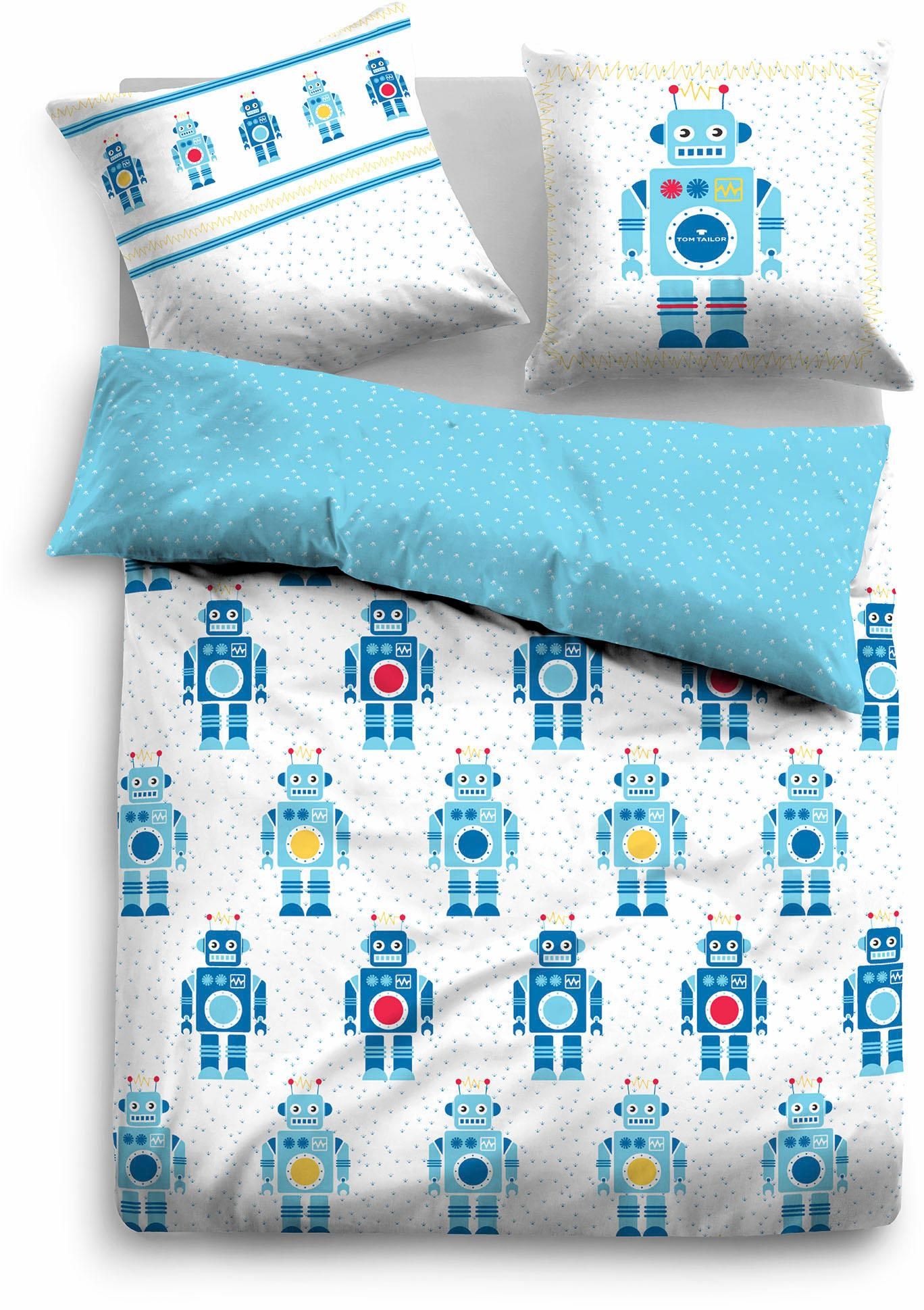 Kinderbettwäsche, Tom Tailor, »Beni«, mit Robotern | Kinderzimmer > Textilien für Kinder > Kinderbettwäsche | Blau | Baumwolle | TOM TAILOR