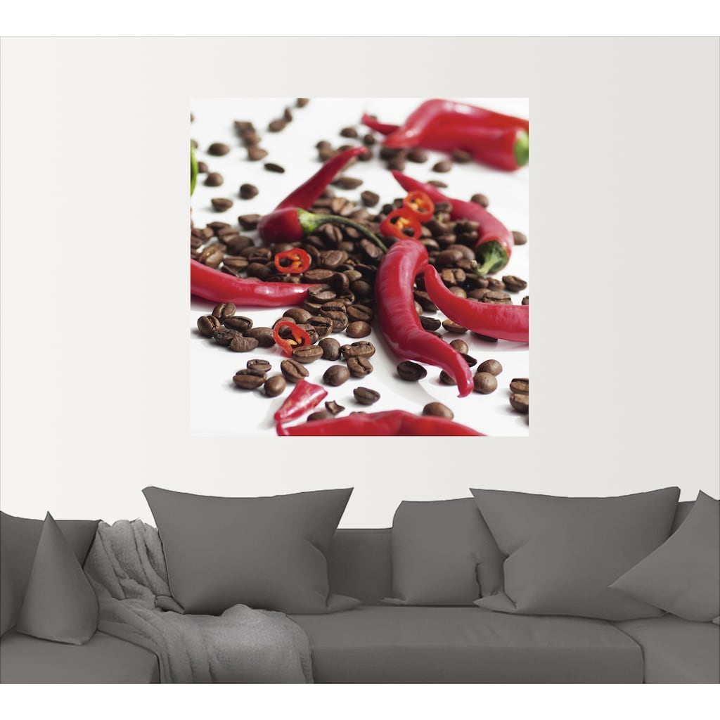 Artland Wandbild »Frische Chili auf Kaffee«, Lebensmittel, (1 St.), in vielen Größen & Produktarten -Leinwandbild, Poster, Wandaufkleber / Wandtattoo auch für Badezimmer geeignet