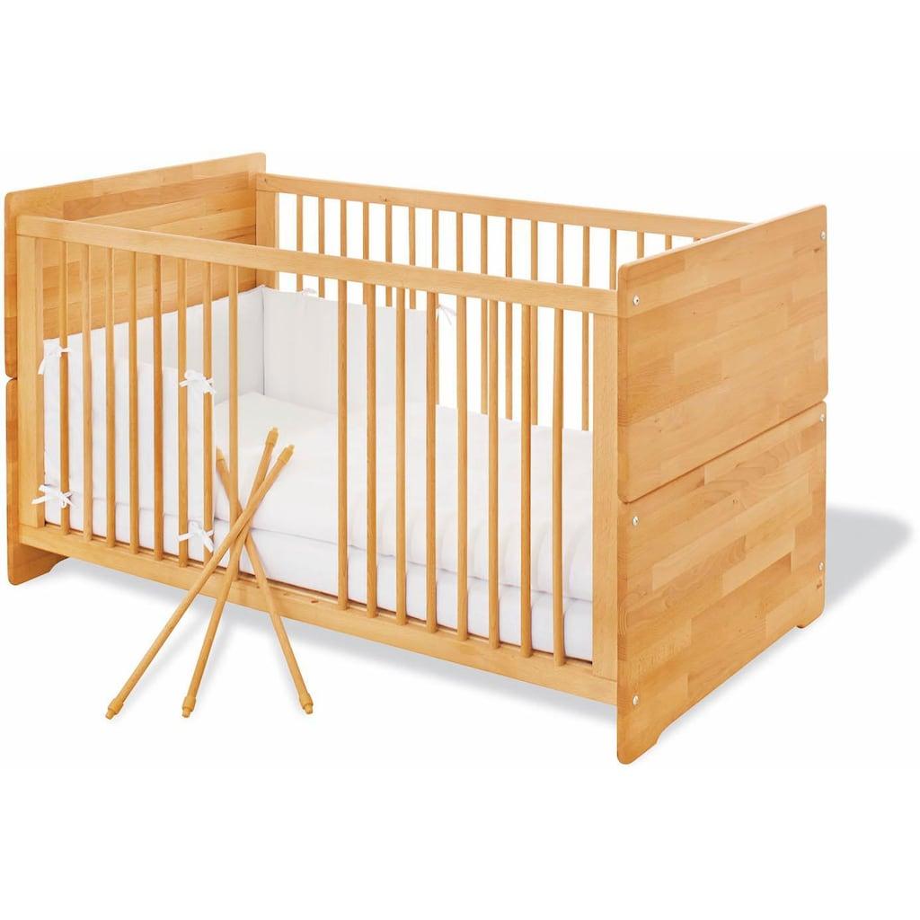 Pinolino® Babyzimmer-Komplettset »Natura«, (Set, 3 St.), extrabreit; mit Kinderbett, Schrank und Wickelkommode; Made in Europe