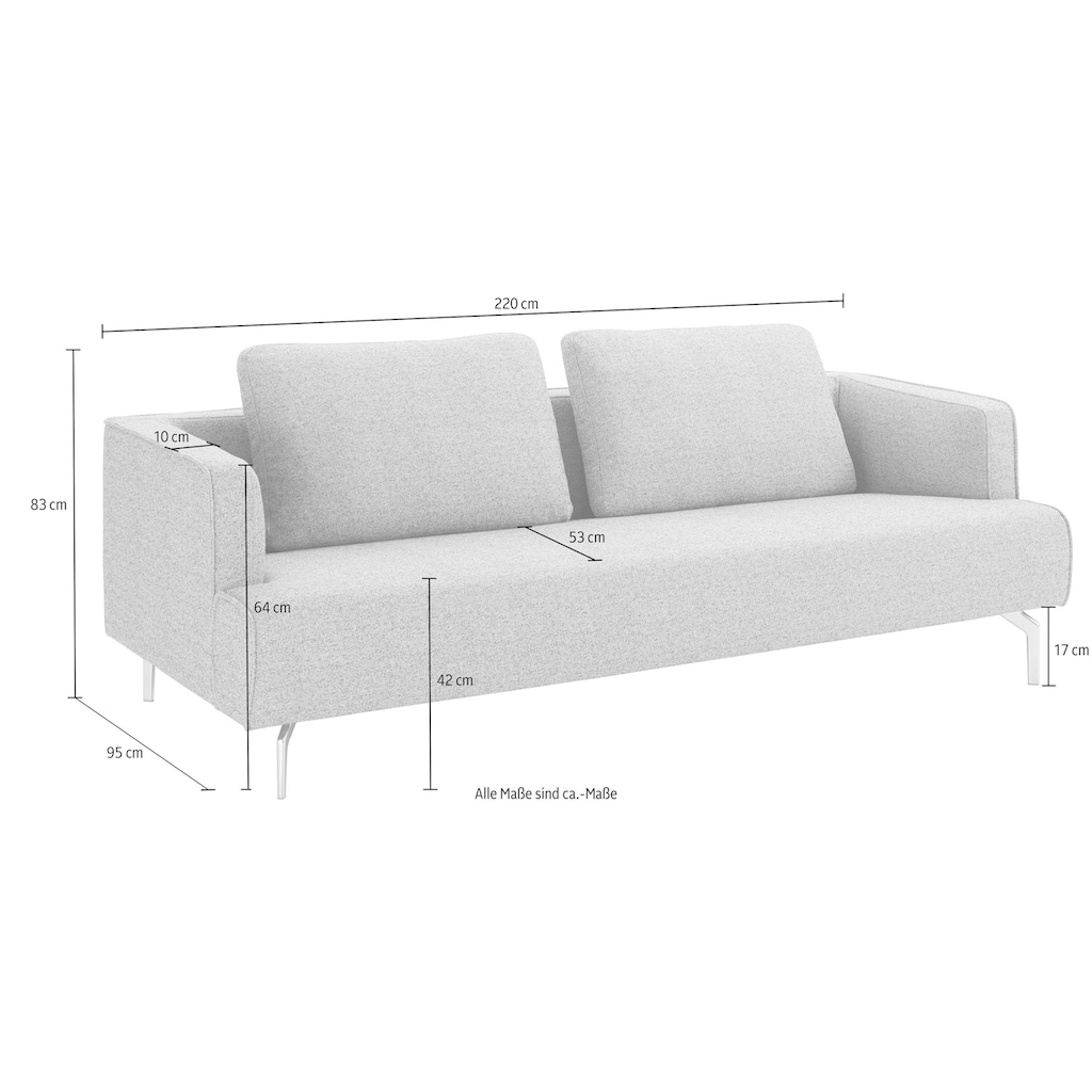 hülsta sofa 4-Sitzer »hs.440«, wahlweise in Stoff oder Leder, Gussfüße poliert
